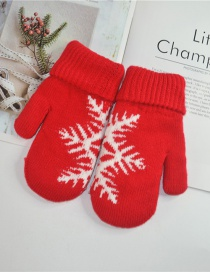 Fashion Red Christmas Knit Double Layered Snowflake Gloves