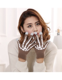Fashion Light Coffee White Ghost Claw Touch Screen Skull Halloween Wool Gloves