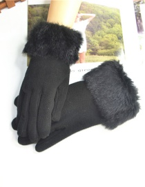 Fashion Black Raw Mouth Brushed Gloves