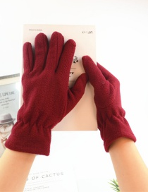 Fashion Red Imitation Lambskin Gloves