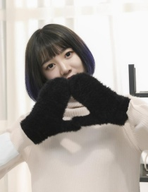 Fashion Black Plush Knit Non-falling Mittens