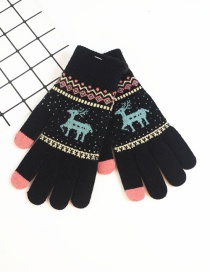 Fashion Black Fawn Christmas Plus Velvet Touch Screen Knitted Woolen Gloves