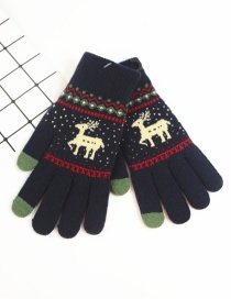 Fashion Upper Cyan Fawn Christmas Plus Velvet Touch Screen Knitted Woolen Gloves