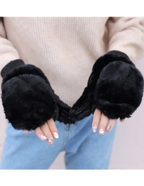 Fashion Black Plush Double Finger Flip Glove