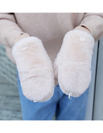Fashion Beige Plush Double Finger Flip Glove