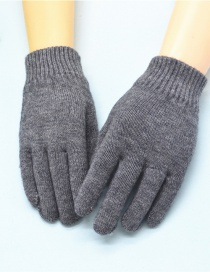 Fashion Gray Wool Knitted Finger Gloves