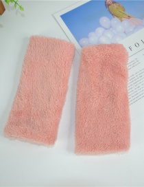 Fashion Pink Half Finger Plush Gloves