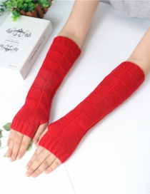 Fashion Big Red Half Finger Knit Wool Arm Sleeve