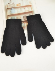 Fashion Black Wool Touch Screen Plus Velvet Finger Gloves