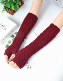 Fashion Jujube Red Twist Half Finger Knit Wool Arm Sleeve