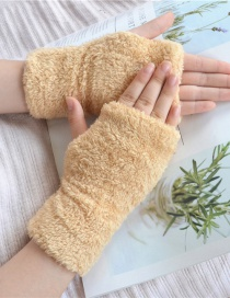 Fashion Khaki Plush Half Finger Bear Arm Sleeve