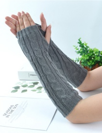 Fashion Dark Gray Half Finger Twist Twist Yarn Knitting Gloves