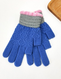 Fashion Blue Contrast Lace Points With Knitted Wool And Velvet Gloves