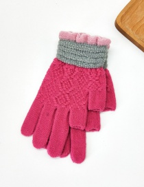 Fashion Red Contrast Lace Points With Knitted Wool And Velvet Gloves