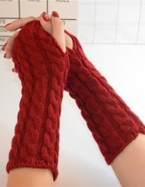 Fashion Red Wool Half Finger Knit Full Twist Arm Sleeve