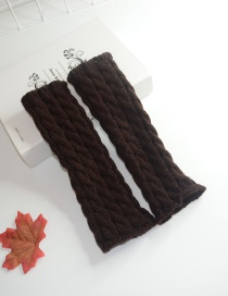 Fashion Brown Wool Half Finger Knit Full Twist Arm Sleeve