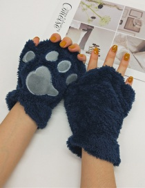 Fashion Upper Cyan Cat Claw Plush Bear Paw Half Finger Gloves