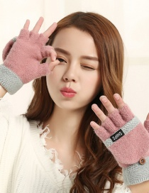 Fashion Pink Gray Flip Half Finger Knit Letter Gloves