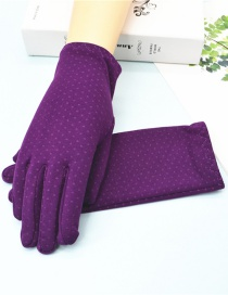 Fashion Purple Short Spandex Stretch Dot Brushed Gloves