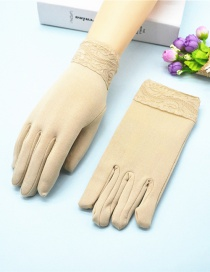 Fashion Khaki Wide-brimmed Lace-brushed Five-finger Gloves