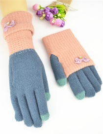 Fashion Powder Blue Touch Screen Knit Gloves