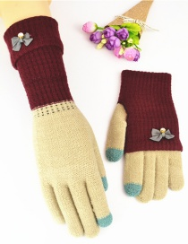 Fashion Jujube Khaki Touch Screen Knit Gloves