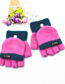 Fashion Rose Red Letter Clap Color Matching Five-finger Gloves
