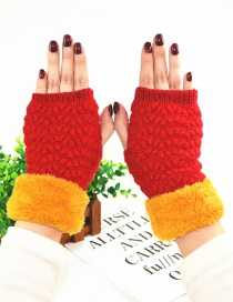 Fashion Red Plus Mouth And Velvet Half Finger Gloves