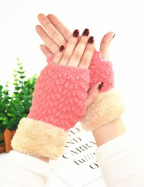 Fashion Pink Plus Mouth And Velvet Half Finger Gloves