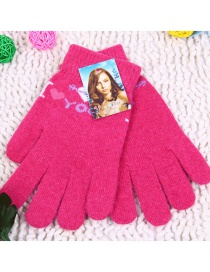 Fashion You- Red One Arrow Through The Heart Letter Wool And Velvet Knit Gloves