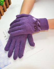 Fashion I Love You-purple Letter Wool And Velvet Knit Gloves