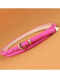 Fashion Rose Red Leather Belt