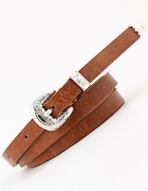 Fashion Coffee Pin Buckle Carved Thin Belt