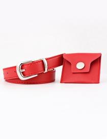 Fashion Red + Silver Buckle Small Pocket Pu Belt