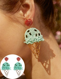 Fashion Green Hollow Ice Cream Stud Earrings