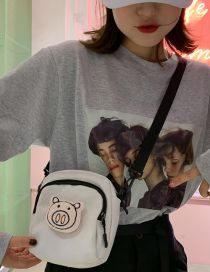 Fashion White Cartoon Pig Shoulder Messenger Bag