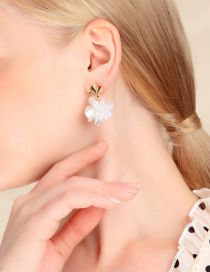 Fashion Gold 925 Sterling Silver Flower Pearl Earrings
