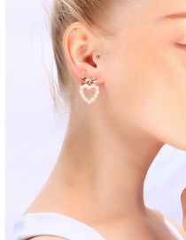 Fashion Gold Heart-shaped Pearl Earrings In Sterling Silver