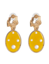 Fashion Yellow Round Transparent Pearl Stud Earrings