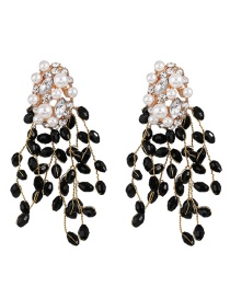 Fashion Black Studded Tassel Earrings