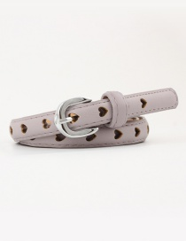 Fashion Light Purple Hollow Heart Pin Buckle Belt