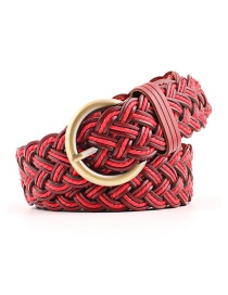 Fashion Red Imported Leather Woven Braided Knotted Belt