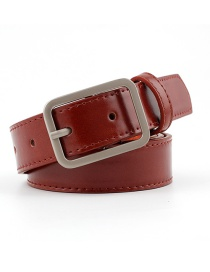Fashion Red-brown Japanese Word Buckle Belt
