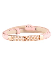Fashion Light Pink Pearl Inlay Buckle Adjustment Belt