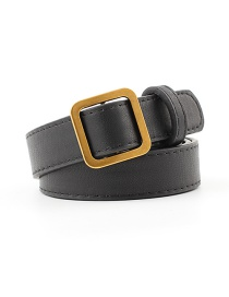 Fashion Black Square Buckle Without Hole Soft Leather Belt