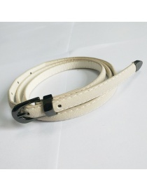 Fashion Beige Pin Buckle Belt