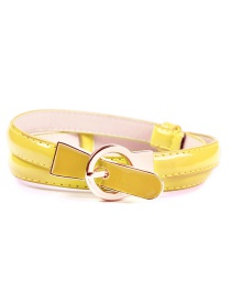 Fashion Yellow Pin Buckle Adjustment Fine Belt