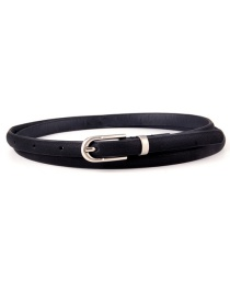 Fashion Black Frosted Silver Buckle Thin Belt
