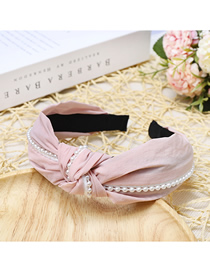 Fashion Pink Pearl Knotted Cloth Pearl Headband