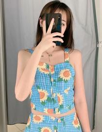 Fashion Blue Sun Flower Print Sling Single-breasted Vest